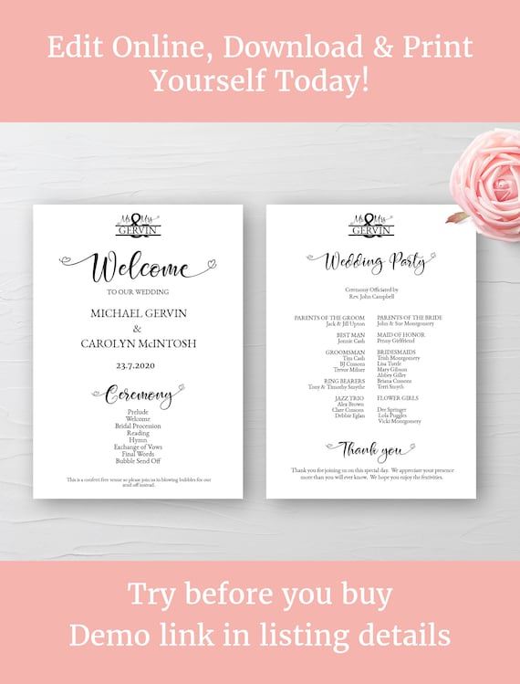 Admirable Wedding Program Template Wedding Programme Printable Monogram Wedding Ceremony Program 5X7 Diy Edit Online Download And Print Complete Home Design Collection Papxelindsey Bellcom