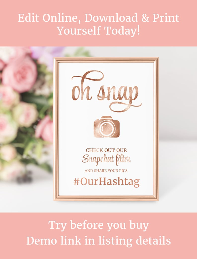 Rose Gold Social Media Sign Floral Wedding Oh Snap Instagram Snapchat Hashatag