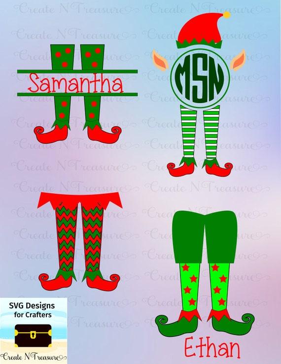Elfo de Navidad patas monograma Marcos SVG DXF. Archivos de | Etsy