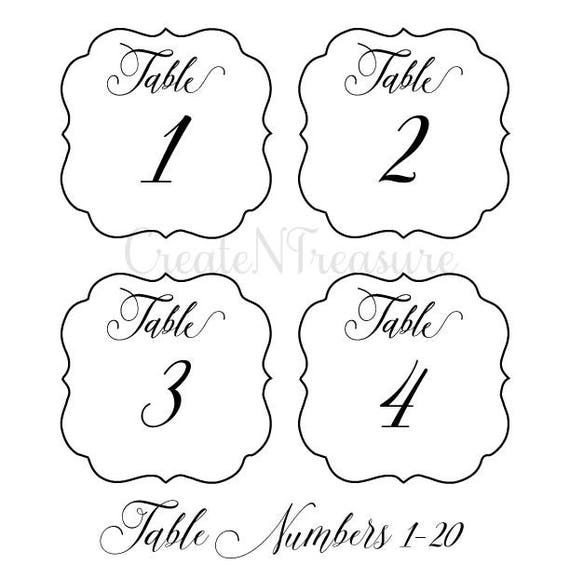 Table Numbers Template | Wedding Table Numbers Svg Table Numbers Template Svg Etsy
