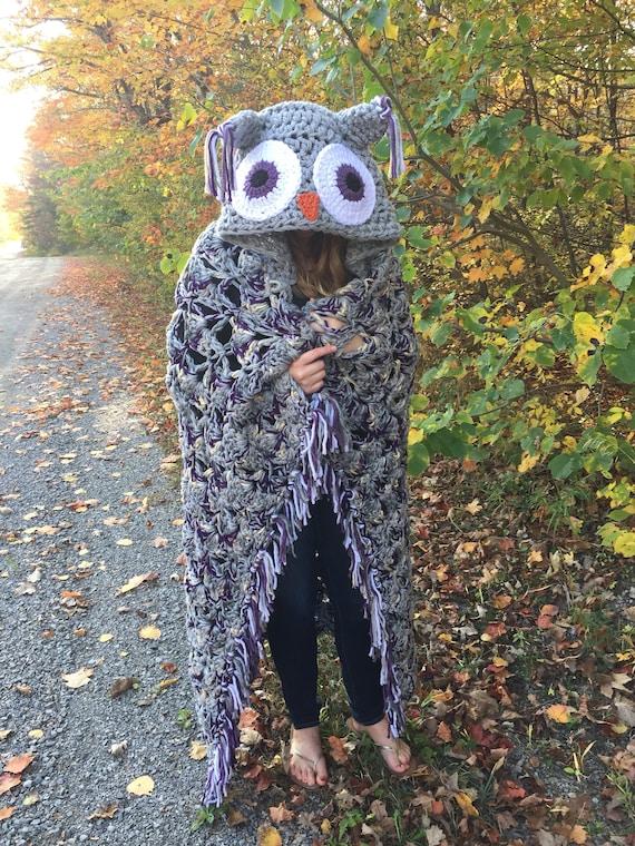 Ganchillo manta de buho con capucha patrón diseñado por MJ de | Etsy