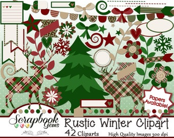 RUSTIC WINTER Clipart 42 Png Files Instant Download Planner Labels Stickers Tags Banner Christmas Nature Deer Elk Plaid Woodland