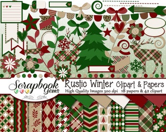 RUSTIC WINTER Clipart And Papers Kit 42 Png Clip Arts 18 Jpeg Instant Download Planner Trees Deer Elk Plaid Christmas Snowflakes