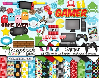 Video Game Clipart Video Game Controller Clipart Gamer Etsy