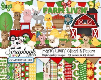 barn pig 12 jpeg Papers Instant Download sheep tractor FARM LIFE Clipart /& Papers Kit cow chicken coop 30 png Cliparts trailer hay