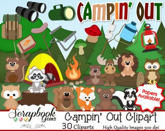 CAMPIN OUT Clipart 30 Png Files Instant Download Beaver Moose Fox Forest Tent Fire Binoculars Owls Bear Raccoon Camping