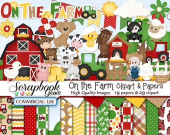 ON THE FARM Clipart Papers Kit 29 Png Files 19 Jpeg Paper Instant Download Cow Horse Chicken Pig Sheep Ranch Barn Tractor