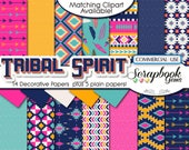 TRIBAL SET 1 Digital Papers, 19 Pieces, 12 quot x 12 quot , High Quality JPEGs, Instant Download feathers aztec indian feather native american arrow