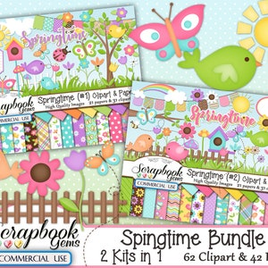 SPRINGTIME BUNDLE - 2 Kits in 1, 62 Cliparts & 42 Papers, Instant Download, easter, flower, bird house, fence, garden spring, butterfly, sun