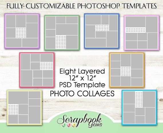 PHOTO COLLAGE Scrapbook Templates, Eight 12\