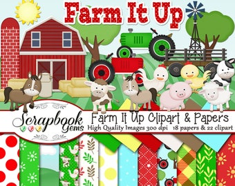 Farm it Up!  Clipart & Papers Kit, 22 PNG Clipart files, 18 JPEG Paper files Instant Download cow horse chicken pig sheep ranch barn tractor