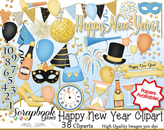 Christmas Disco Clipart.Happy New Year Clipart 38 Png Clipart Files Instant Download Winter New Year S Christmas Balloon Disco Ball Party Celebrate Clock Champagne