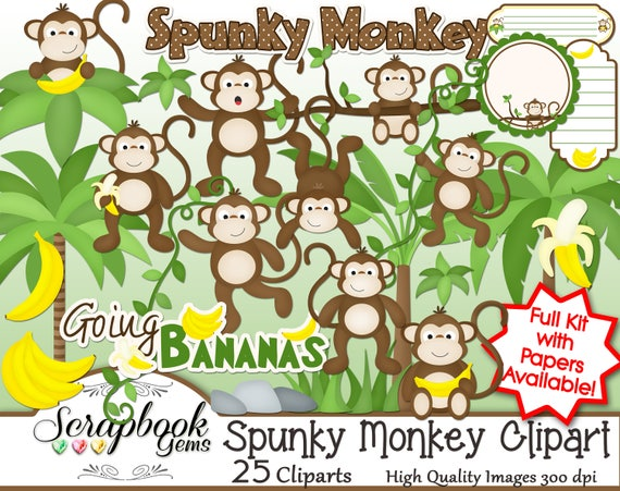 SPUNKY MONKEY Clipart 25 png Clipart files Instant ...