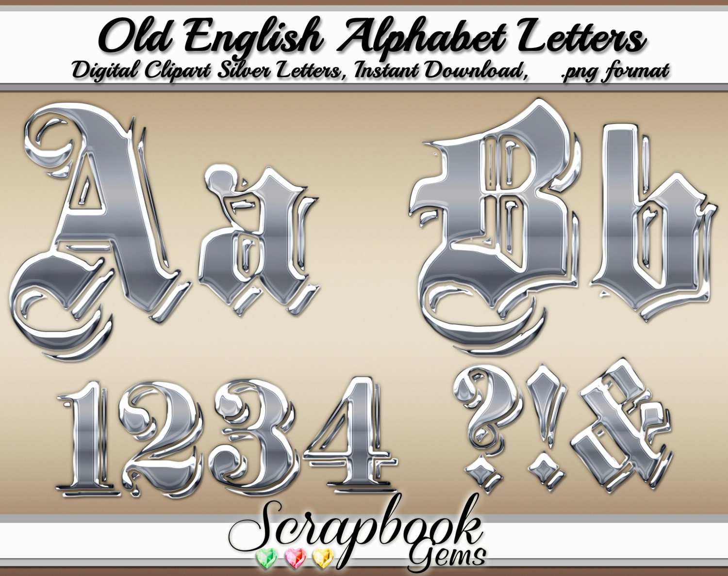 Old English Silver Letters Numbers Digital Clipart 68 High Etsy