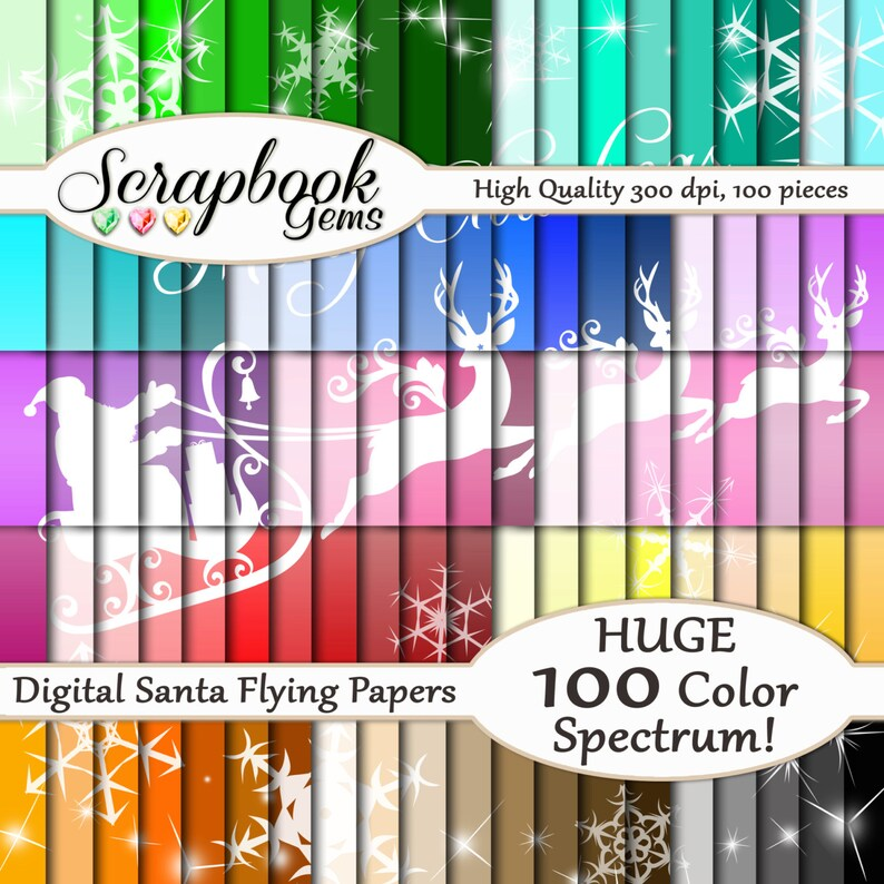 100 Santa /& Sleigh Christmas Digital Paper 100 Pieces Instant Download 300 dpi High Quality JPEG files 12 x 12