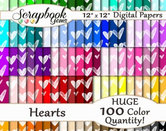 "100 Hearts Valentine Digital Paper, 100 Pieces, 12"" x 12"", 300 dpi High Quality JPEG files, Instant Download"