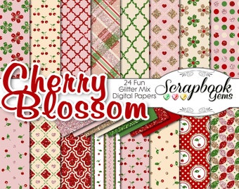 "Cherry Blossom Glitter Digital Papers, 24 Pieces, 12"" x 12"", High Quality JPEG files, Instant Download Commercial Use Scrapbook valentine"