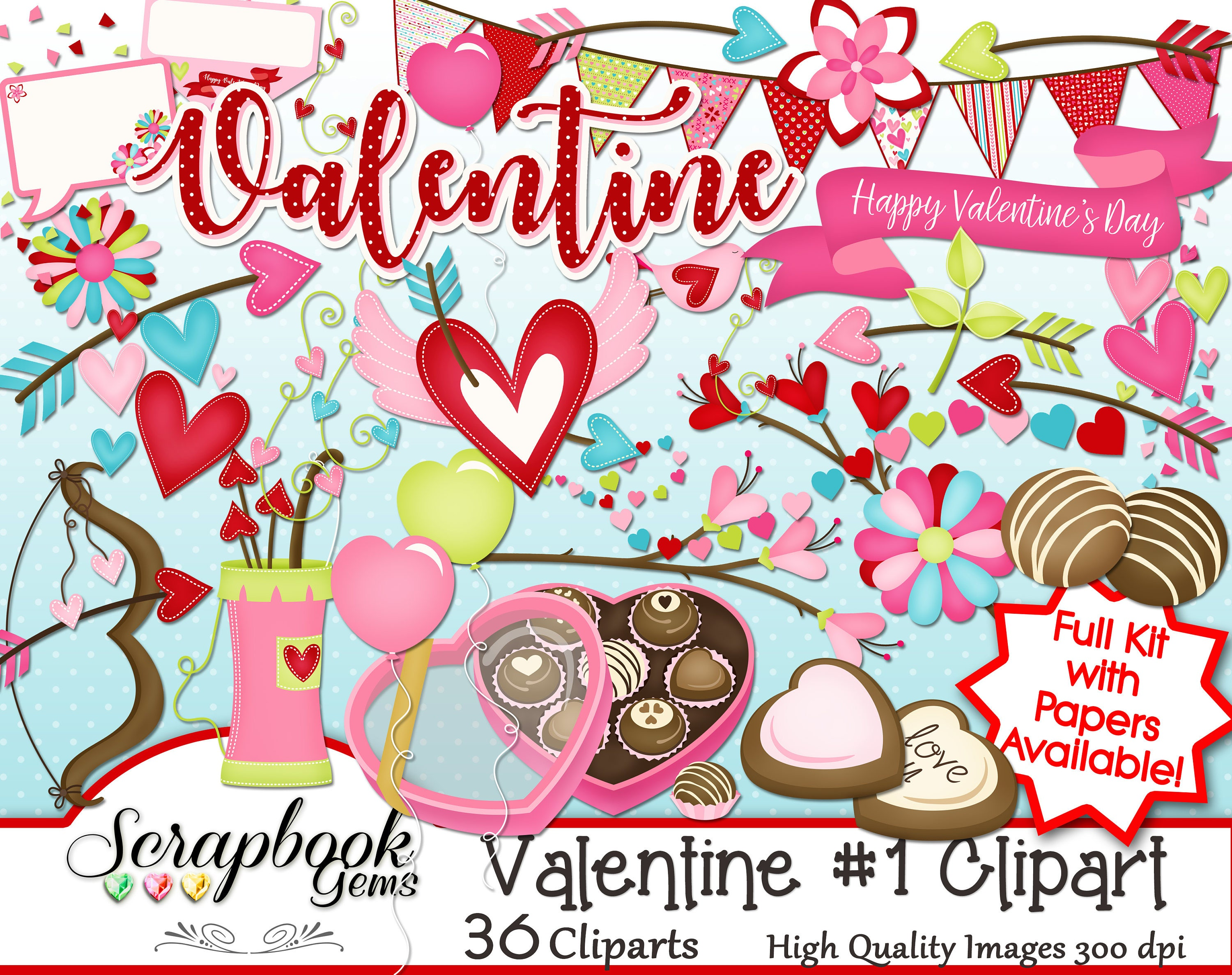 Happy Valentine/'s day Clipart Instant Download PNG file Digital Clip Art Watercolor Chocolate on my LOVE