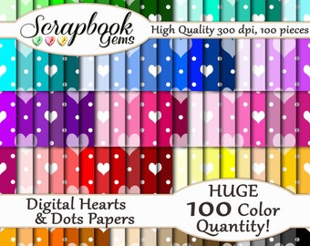 "100 Hearts & Dots Valentine Digital Paper, 100 Pieces, 12"" x 12"", 300 dpi High Quality JPEG files, Instant Download"