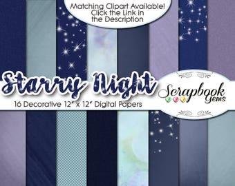 "STARRY NIGHT Digital Paper, 16 JPEG 12"" X 12"" Digital Paper files, Instant Download stars sparkles nighttime bed time darkness moon dark"