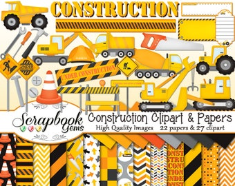 CONSTRUCTION Clipart and Papers Kit, 27 png Clip arts, 22 jpeg Papers Instant Download tractor crane cone bulldozer tools hammer screwdriver