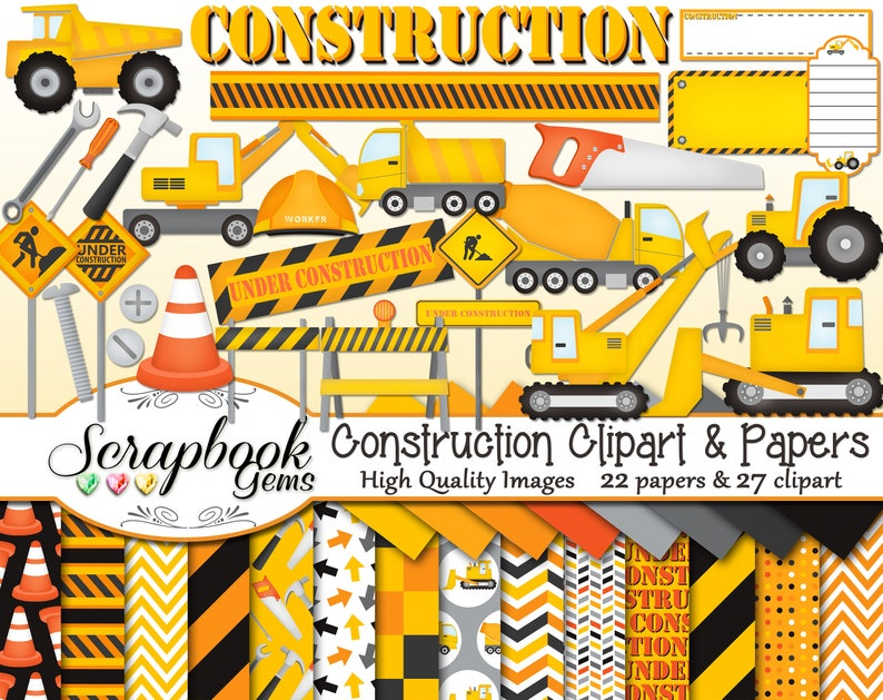 CONSTRUCTION Clipart and Papers Kit 27 png Clip arts 22 jpeg image 0