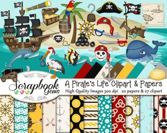 A PIRATE'S LIFE Clipart & Papers Kit, 27 png Clip arts, 20 jpeg Papers Instant Download skull ocean sea whale boats nautical gold treasure