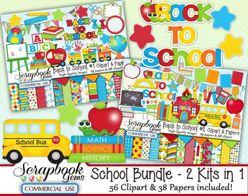 56 Cliparts /& 38 Papers desk school train globe 2 Kits in 1 school bus Instant Download finger paint backpack SCHOOL BUNDLE chair