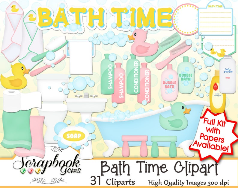 Bath Time Clipart 31 Png Clipart Files Instant Download Soap Etsy