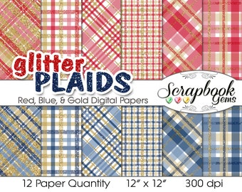 """Glitter Plaid Red, Navy Blue & Gold Digital Papers, 12 Pieces, 12"""" x 12"""", High Quality JPEGs, Instant Download Commercial Scrapbook tartan"""