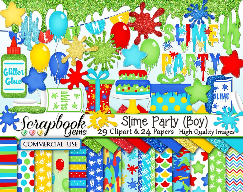 SLIME PARTY 24 jpeg Paper files grossology gooey birthday Boy Clipart /& Papers Kit 29 png Clipart files Instant Download glitter