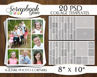 "TWENTY (20) 8"" x 10"" Digital Photo Collages / Storyboard Templates, PSD Format, Photo Scrapbook Template Collage"