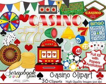 CASINO Clipart, 36 png Clipart files Instant Download slot machine las vegas atlantic city gambling gamble poker chips deck of cards dice