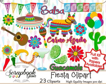 FIESTA! Clipart, 23 png Clipart files, Instant Download mexican mexico latino party sombrero cactus guitar balloons peppers chiles guacamole