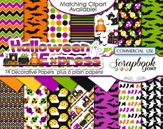 ghost Instant Download spooky HALLOWEEN EXPRESS Clipart /& Papers Kit 30 png Clipart files train railroad 20 jpeg Paper files pumpkin