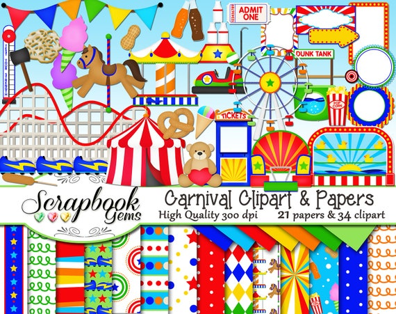 carnival clipart papers kit 34 png clip arts 21 jpeg etsy