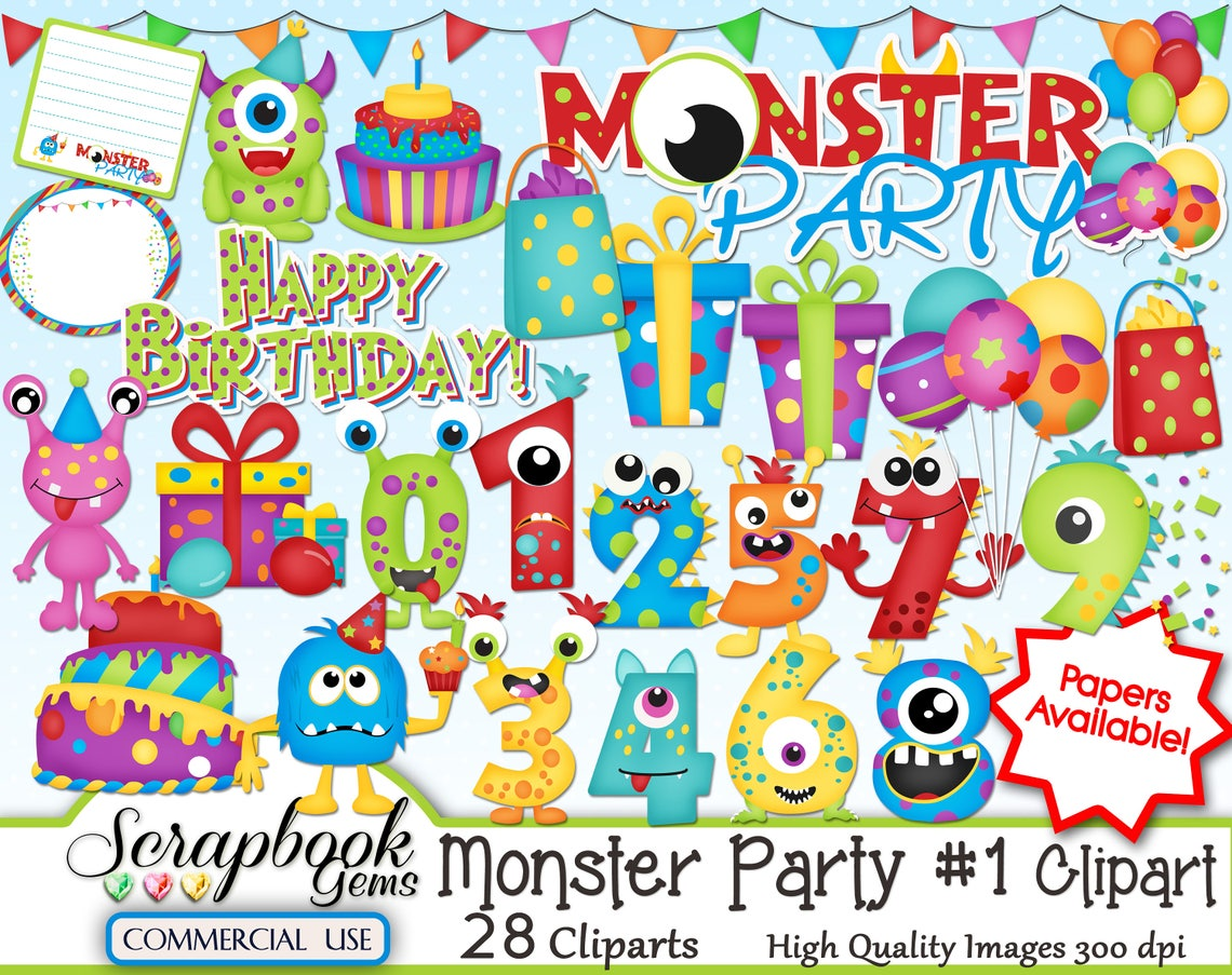 MONSTER PARTY Kit 1 Clipart 28 png Clipart files Instant image 0