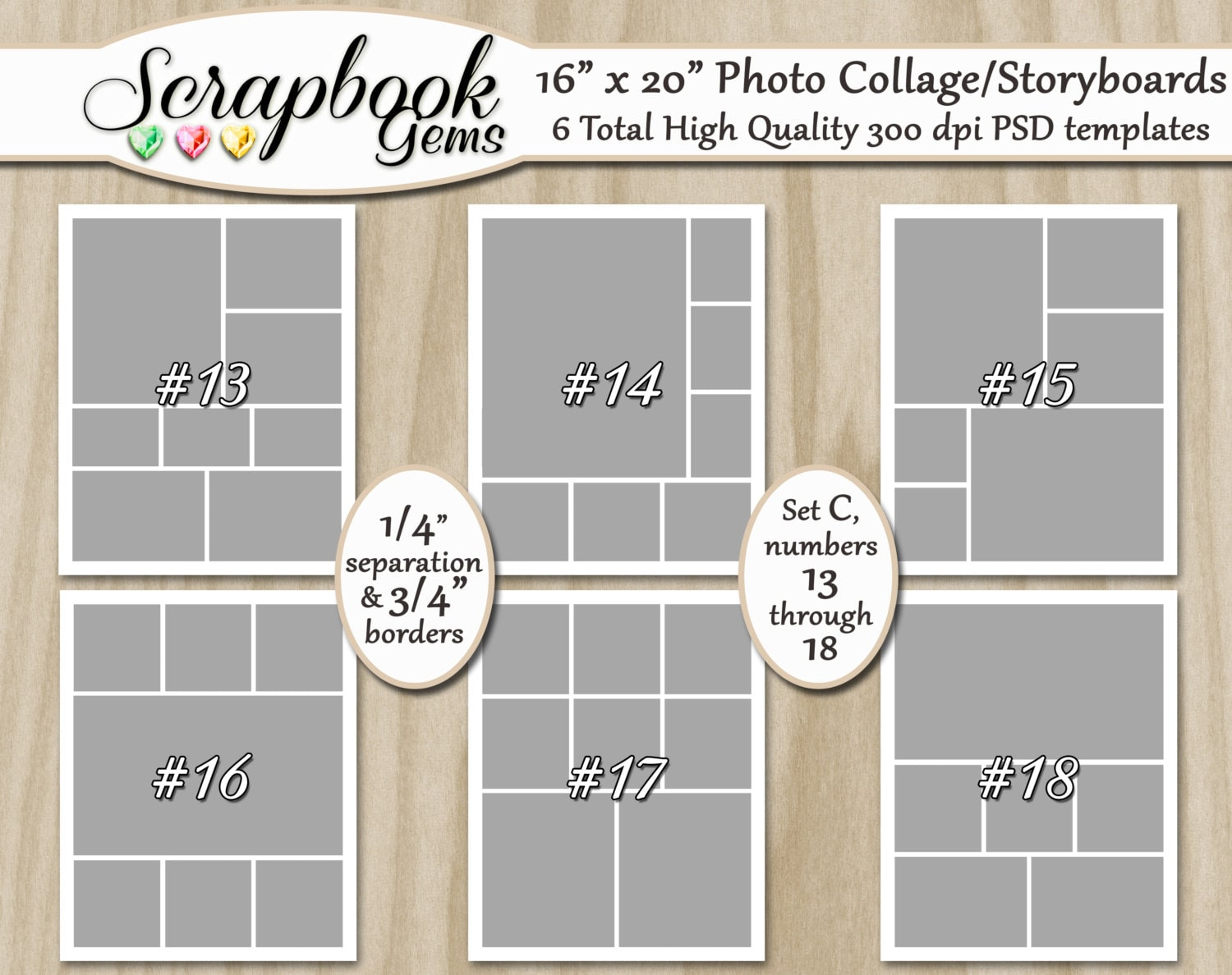 Six 16 X 20 Digital Photo Collages Storyboard Etsy