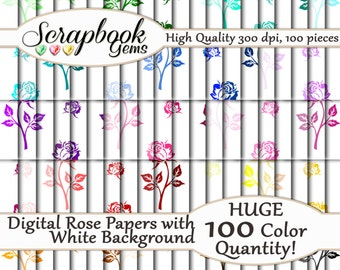 "100 Roses Valentines Digital Paper, 100 Pieces, 12"" x 12"", 300 dpi High Quality JPEG files, Instant Download"