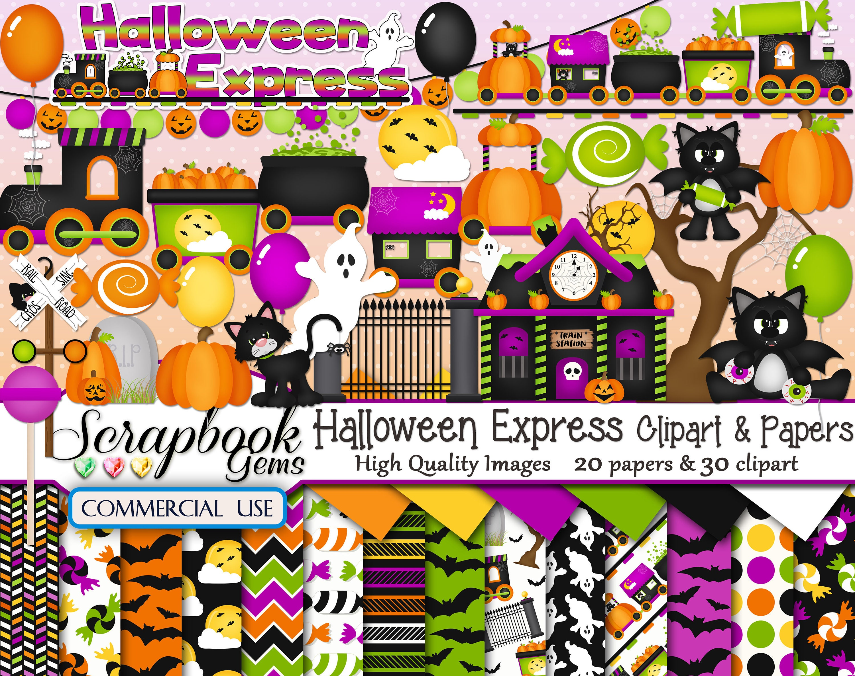 halloween express clipart & papers kit 30 png clipart files | etsy