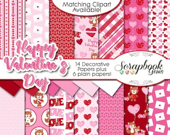 "VALENTINE'S DAY #2 Digital Papers, 20 Pieces, 12"" x 12"", High Quality JPEGs Instant Download heart wedding valentine pink red foxes love fox"