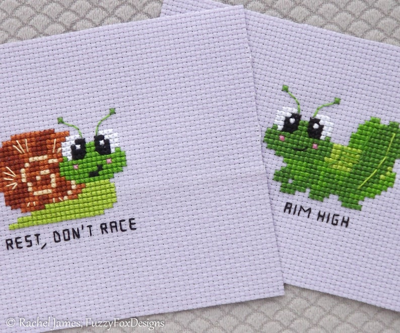 Gorgeous Grasshopper and Sweet Baby Snail Cross Stitch Pattern image 0