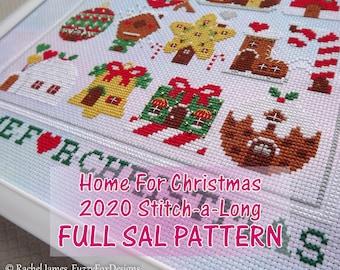 Home for Christmas Stitch-a-Long Pattern PDF | 2020 Christmas SAL | Cute Christmas Houses Cross Stitch Pattern PDF