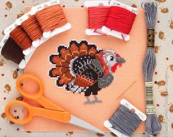 Turkey Cross Stitch Pattern PDF | Mr Gobbles the Turkey | Cute Bird Counted Cross Stitch Chart | Instant Download