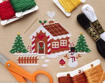 Christmas Gingerbread House Cross Stitch Pattern PDF