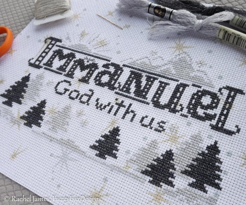 Immanuel Cross Stitch Pattern PDF  Christian Christmas Cross image 0