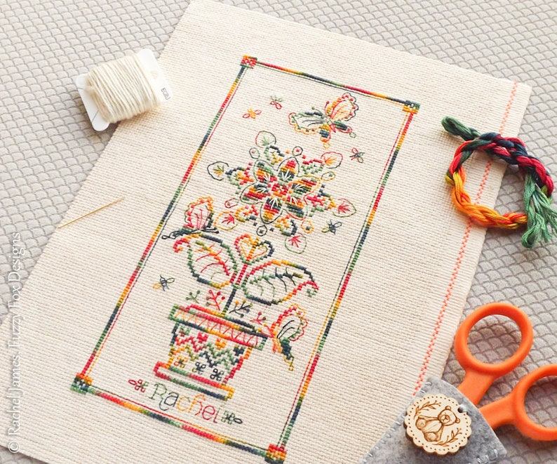 Variegated Flower Panel Cross Stitch Pattern PDF  Chart for image 0