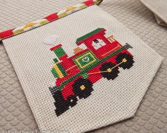 Christmas Train Bunting Cross Stitch Pattern PDF