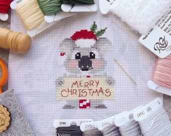 Christy the Christmas Koala Cross Stitch Pattern PDF | Cute Koala Cross Stitch Pattern | Christmas Card Design