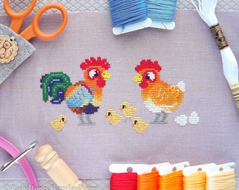 Rooster Chicken Cross Stitch Pattern PDF | Hen Family | Cute Bird Counted Cross Stitch Chart | Instant Download